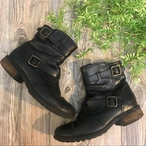 ugg // black leather buckled flat moto boots 9